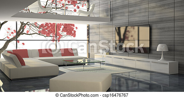 Modern interior with white sofas and pink tree - csp16476767