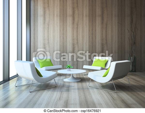 현대, 내부, 4, 안락 의자, 커피, 테이블,... csp16476921의 클립아트 ...