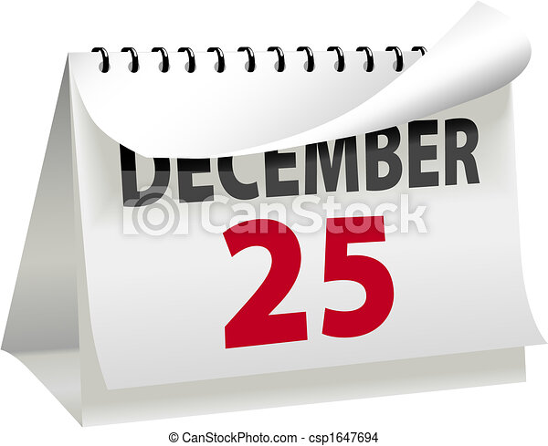 Calendar Turns a Page to Christmas DECEMBER 25 - csp1647694