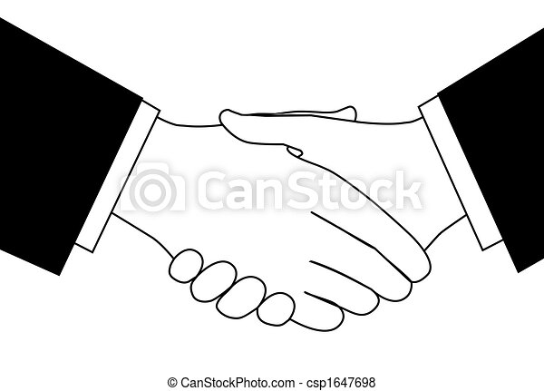 Clipart sketch of business deal handshake in black and white - csp1647698