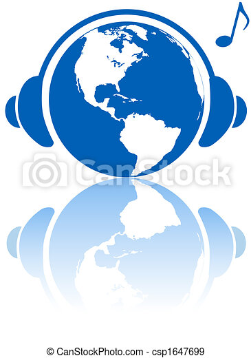 Earth music world headphones on western hemisphere planet - csp1647699