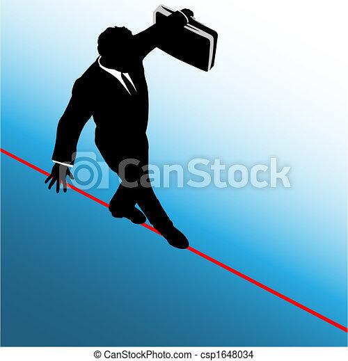 Symbol business man walks on danger risk tightrope - csp1648034