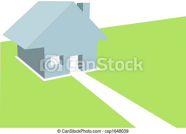 Home 3D Illustration of Residential House on Copyspace - csp1648039