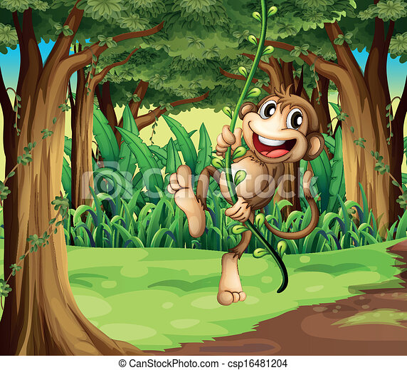 Illustration of a monkey playing with the vine trees in the middle of the forest - csp16481204