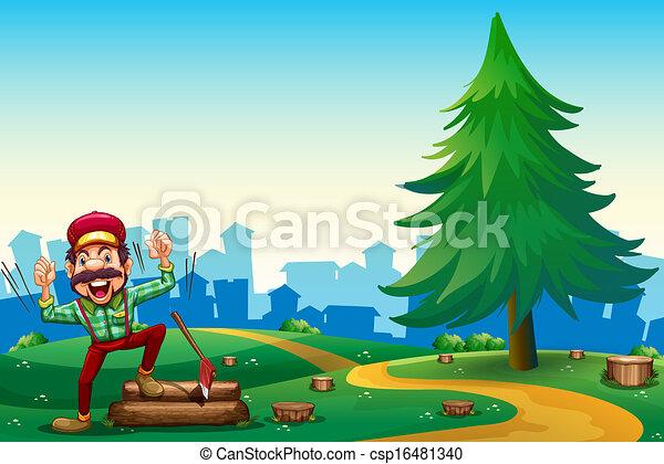 vecteur eps de woodman arbre pin bois couper sommet colline csp16481340 recherchez. Black Bedroom Furniture Sets. Home Design Ideas