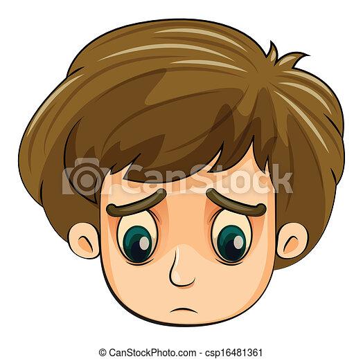 Clip Art de vectores de Un, cabeza, triste, joven, niño ...