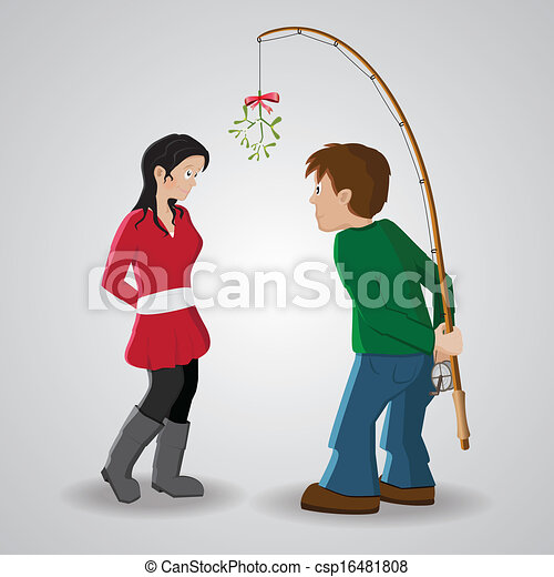 Vector Clipart of Mistletoe kiss - Boy trying to convince ... Convince Clipart