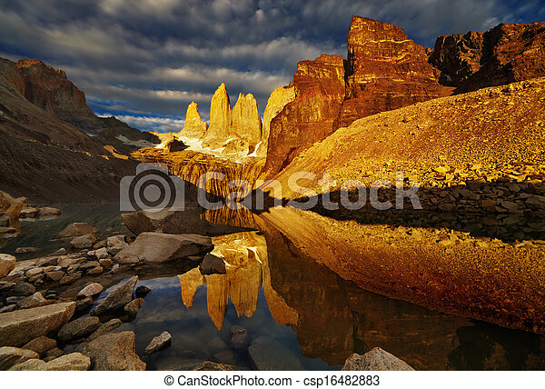 Torres del paine at sunrise - csp16482883