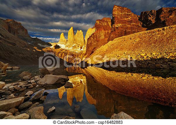 Torres del paine at sunrise - csp16482883