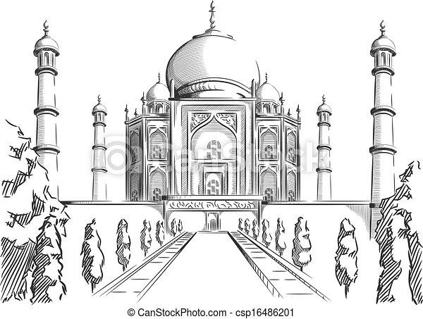 Sketch of India Landmark Taj Mahal - csp16486201