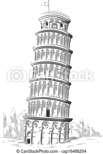 Sketch of Italy Landmark Pisa Tower - csp16486204