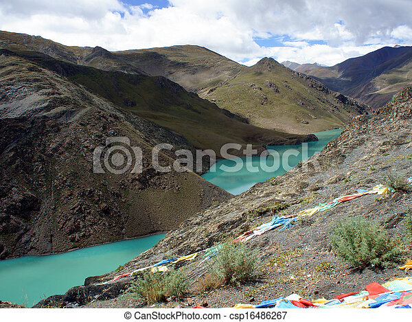 Mountain lake. Tibet - csp16486267