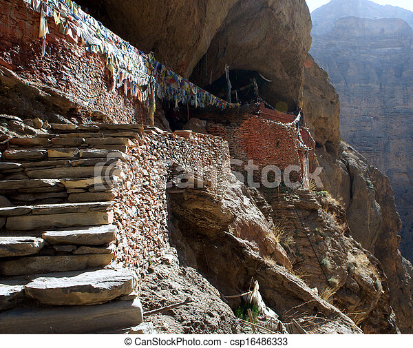 Tibet. Stone steps in the hermit's cave-Buddhist - csp16486333