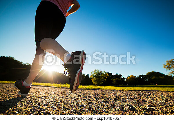 Young fit woman does running, jogging training - csp16487657