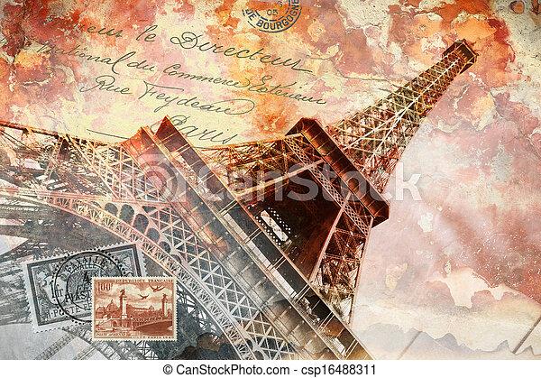Eiffel tower Paris, abstract art - csp16488311