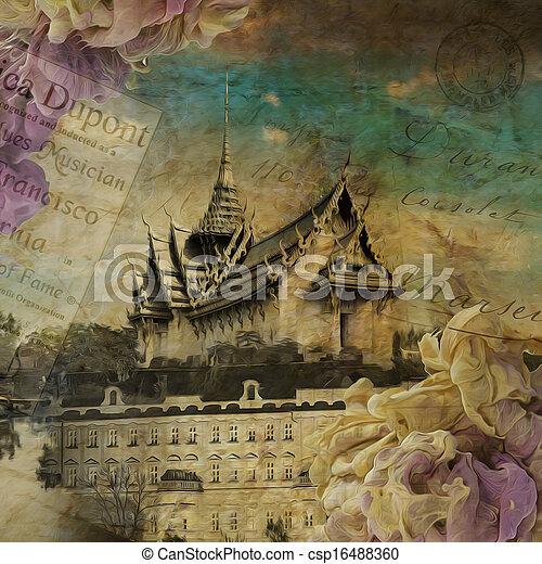Sky castle, digital art painting - csp16488360