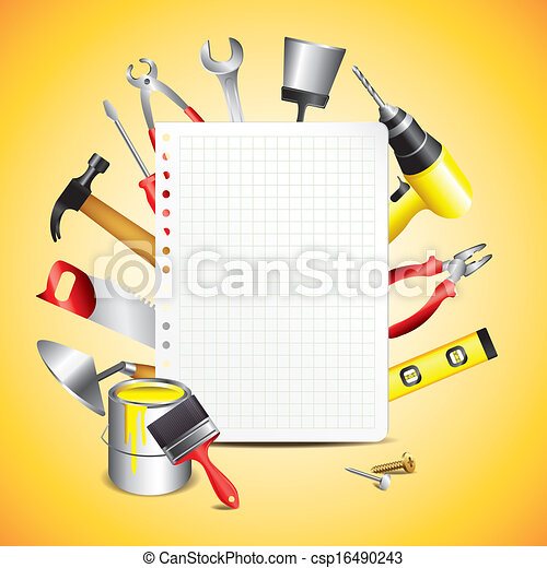 Construction tools with blank paper - csp16490243