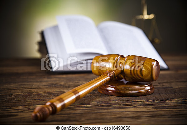 Scales of justice, gavel,law book - csp16490656