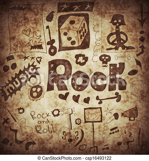 Clip Art of Doodle rock music background csp16493122 - Search ...
