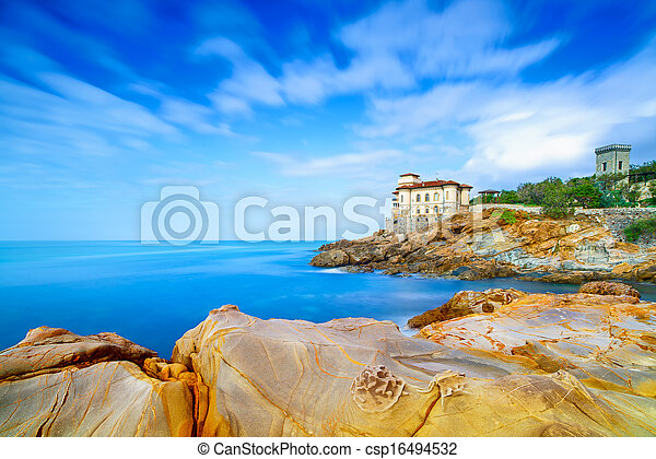 Boccale castle landmark on cliff rock and sea. Tuscany, Italy. - csp16494532