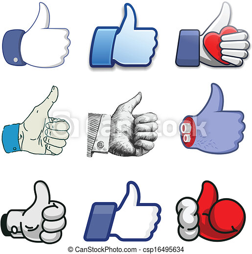 Collection of thumbs Up icons, holidays design - csp16495634