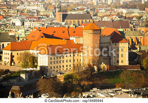 Poland, aerial view of Royal Wawel castle in Krakow. - csp16495944