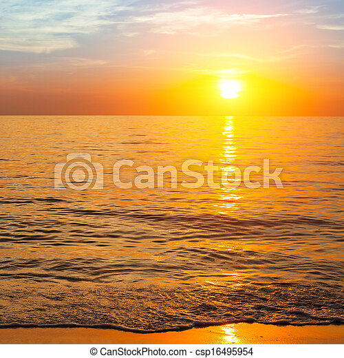 Sunset over ocean, nature composition - csp16495954
