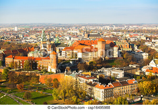 Aerial view of Royal Wawel castle with park in Krakow, Poland. - csp16495988