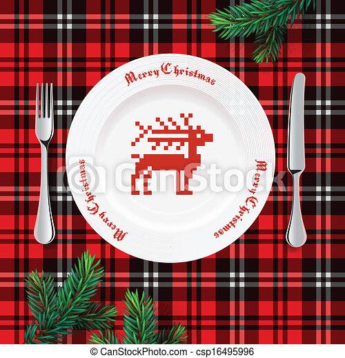 Table setting for Christmas dinner - csp16495996