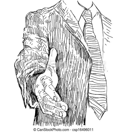 Partnership. Business people. Ink sketch, vector illustration on white background. - csp16496011