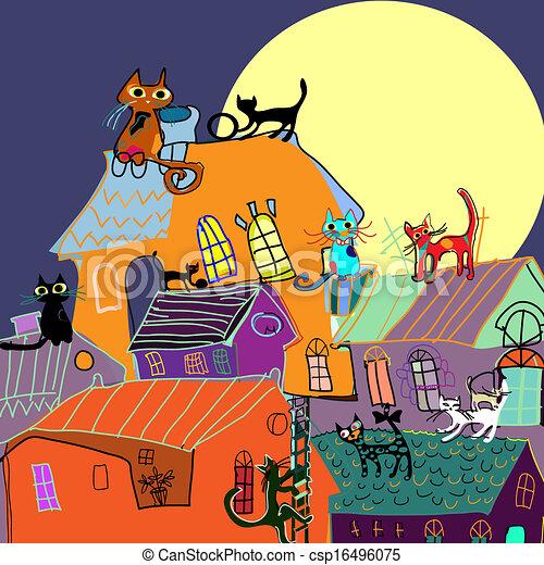 Ilustraciones vectoriales de lindo gatos tejados ciudad - Dibujos de tejados ...