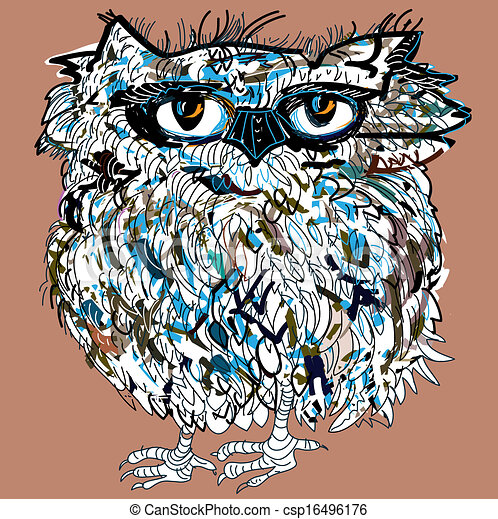 Owl, symbol of Halloween, vector illustration. Illustration for t-shirt. - csp16496176