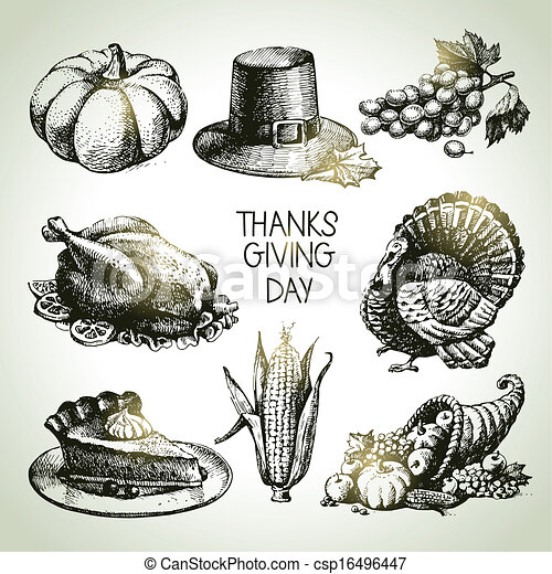 Thanksgiving Day set. Hand drawn vintage illustrations - csp16496447