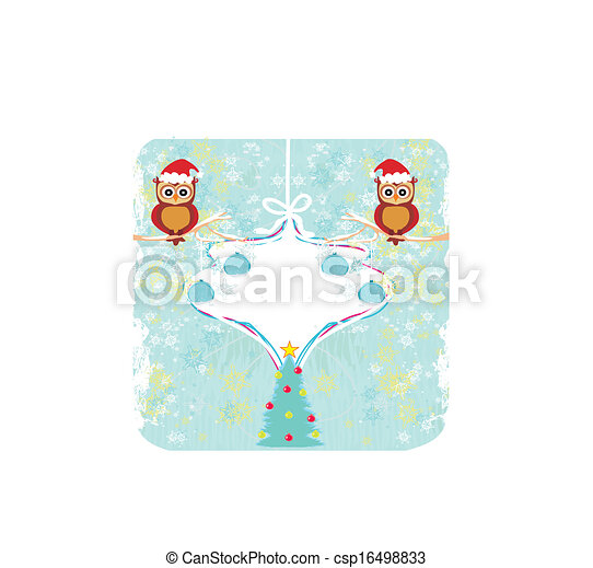 Winter card with cute owls  - csp16498833
