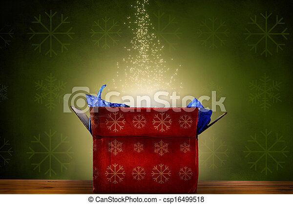 Opened Christmas Gift Box with Glow and Sparkling Stars - csp16499518