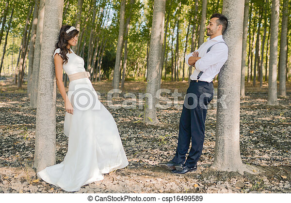 Just married couple in nature background - csp16499589
