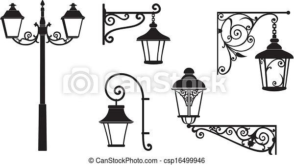 Iron wrought lanterns decorative - csp16499946