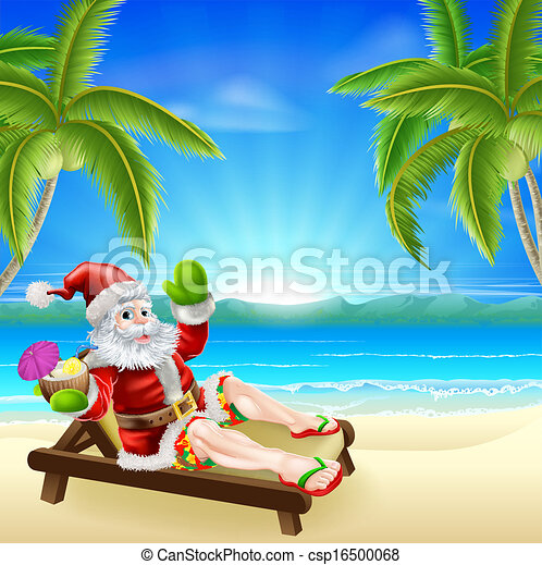 Summer Christmas Santa Beach Scene - csp16500068