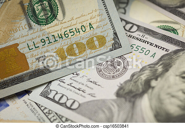 Abstract Detail of the Newly Designed United States One Hundred Dollar Bill. - csp16503841