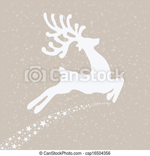 reindeer fly winter background - csp16504356