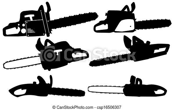 Illustration de tron onneuse ensemble de diff rent chainsaws isol csp16506307 - Coloriage tronconneuse ...
