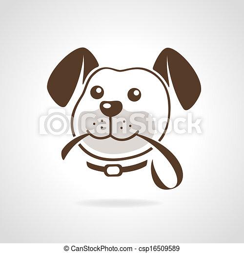 Vector - dog  riem - stock illustratie  royalty-vrije illustraties    Dog Head Vector