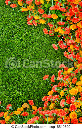 Stock Photo - Artificial Grass Field and Flowers - stock image, images ...
