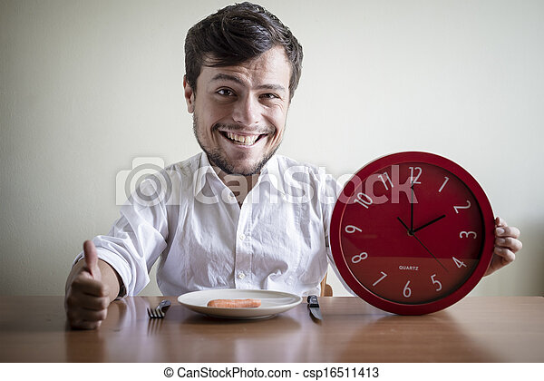 funny puppets man with white shirt holding red clock