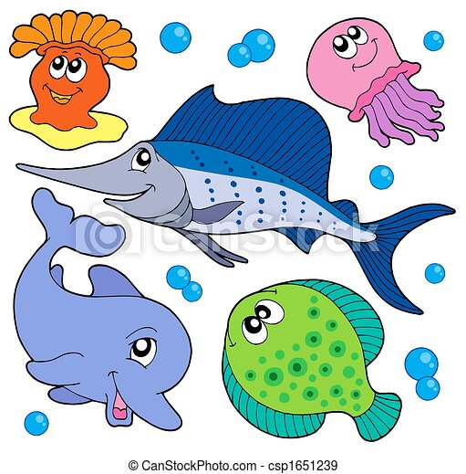 Cute marine animals collection 2 - csp1651239