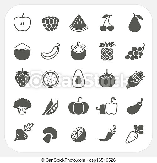 Fruits and Vegetables Icons with frame background - csp16516526
