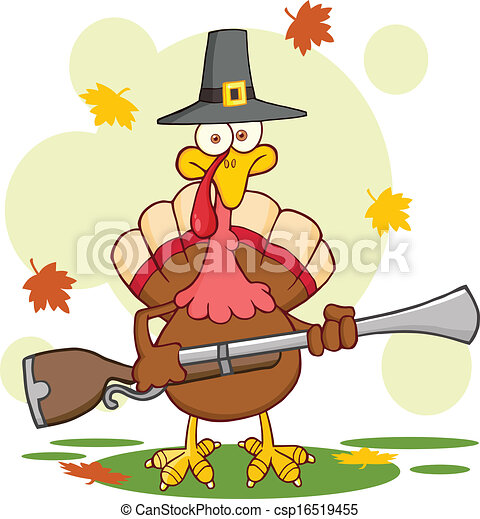 Pilgrim Turkey Bird With A Musket - csp16519455