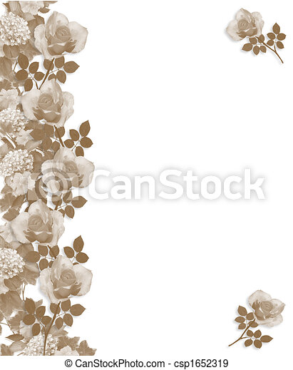 Sepia Roses Border monochrome - csp1652319