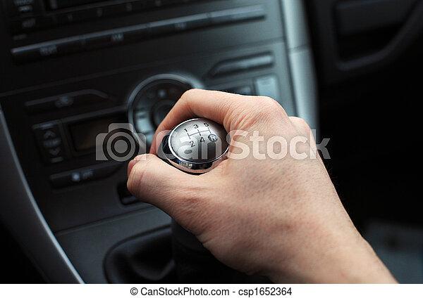 hand on manual gear shift knob - csp1652364