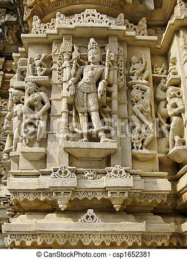 Sculpture in the Jain Temple, Udiapur India - csp1652381
